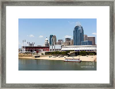 Cincinnati Ohio Skyline And Riverfront Framed Print by Paul Velgos