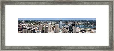 Cincinnati Panorama Aerial Skyline Downtown City Buildings Framed Print by Paul Velgos