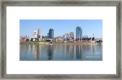 Cincinnati Panoramic Skyline Framed Print by Paul Velgos