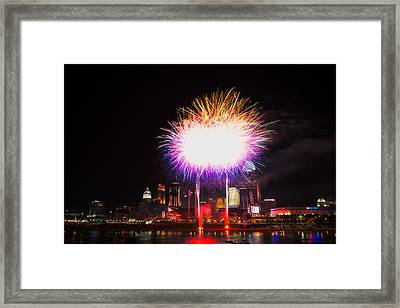 Cincinnati Reds Fireworks - Grand Finale Framed Print