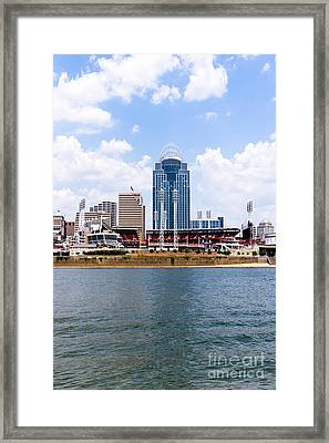 Cincinnati Skyline And Downtown City Buildings Photo Framed Print by Paul Velgos