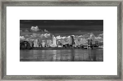 Cincinnati Skyline Bw Framed Print by Keith Allen