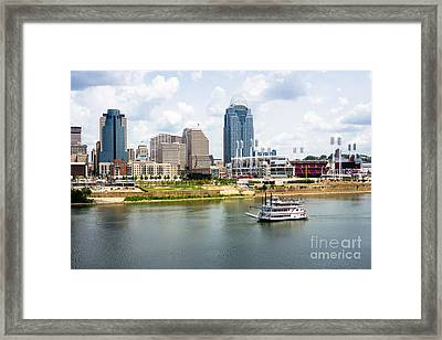 Cincinnati Skyline With Riverboat Photo Framed Print by Paul Velgos