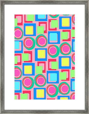Circles And Squares Framed Print by Louisa Knight