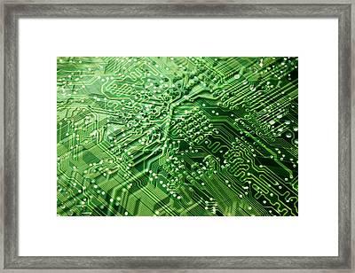 Circuit Board, Computer Artwork Framed Print by Pasieka