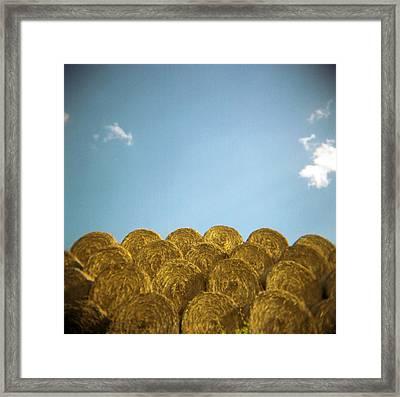 Circular Hay Bales Framed Print by James Arnold