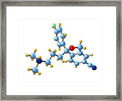 Citalopram Antidepressant Molecule Framed Print by Dr Mark J. Winter