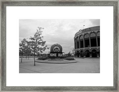 Citi Field In Black And White Framed Print by Rob Hans
