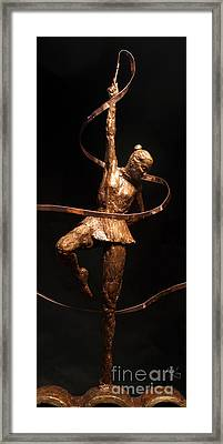 Citius Altius Fortius Olympic Art Gymnast Over Black Framed Print by Adam Long