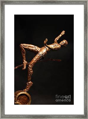 Citius Altius Fortius Olympic Art High Jumper On Black Framed Print by Adam Long