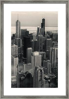 City At Dusk In Monotone Framed Print by Sheryl Thomas