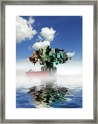 City At Sea, Artwork Framed Print by Victor Habbick Visions