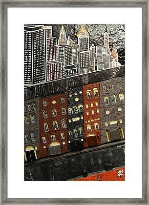 City Block After The Rain Framed Print