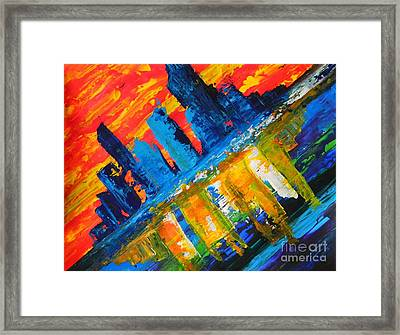 Framed Print featuring the painting City By The Sea by Everette McMahan jr