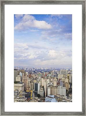 City Center Skyline At Dusk Framed Print