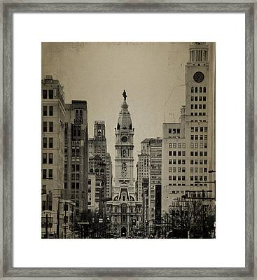 City Hall From North Broad Street Philadelphia Framed Print by Bill Cannon