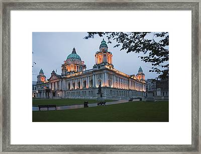 City Hall Illuminated Belfast, County Framed Print by Peter Zoeller