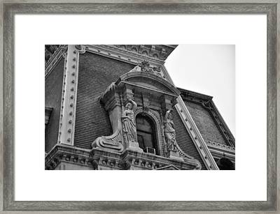 City Hall Window In Black And White Framed Print by Bill Cannon