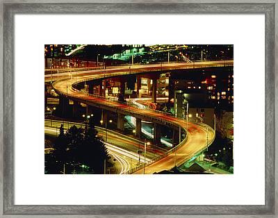 City Lights And Traffic On Bridge In Vancouver Framed Print by Kaj R. Svensson