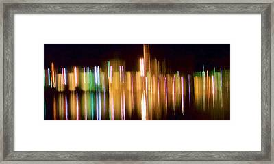 City Lights Over Water Abstract Framed Print by Carolyn Repka