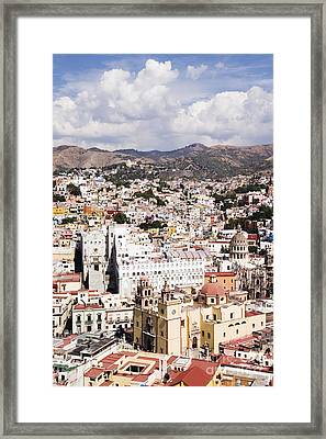 City Of Guanajuato From The Pipila Overlook At Dusk Framed Print
