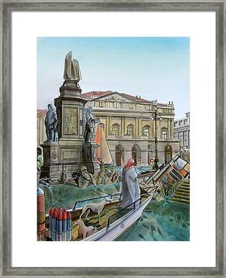 City Of Milan In Italy Under Water Framed Print
