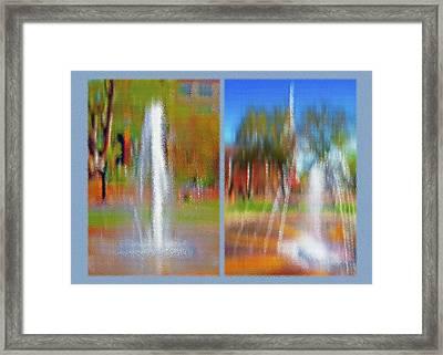 City Park Fountain Diptych Framed Print by Steve Ohlsen