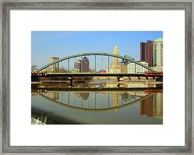City Reflections Through A Bridge Framed Print by Laurel Talabere