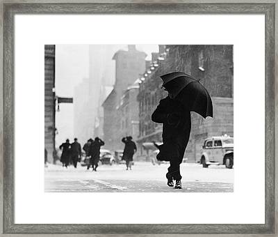 City Street During Snow Storm Framed Print by George Marks
