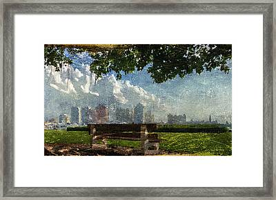 Framed Print featuring the digital art Citybench by Andrea Barbieri