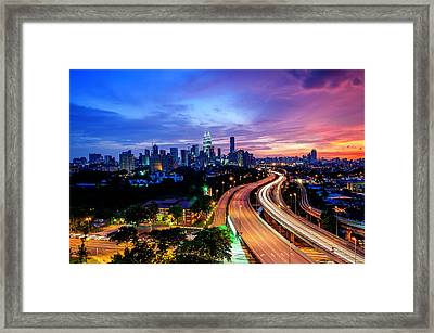 Cityscape Of Kuala Lumpur Framed Print by by Arief Rasa