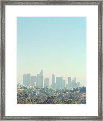 Cityscape Of Los Angeles Skyline From Elysian Park Framed Print