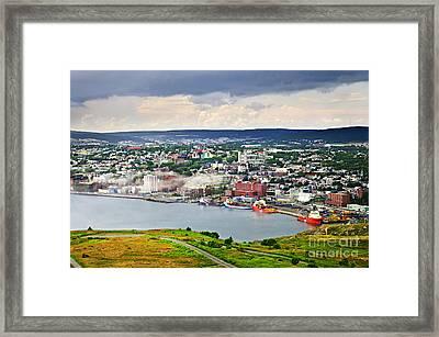 Cityscape Of Saint John's From Signal Hill Framed Print by Elena Elisseeva
