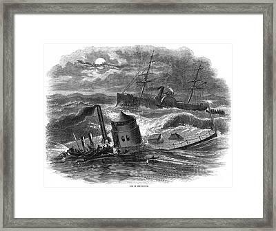 Civil War: Monitor Sinking Framed Print by Granger