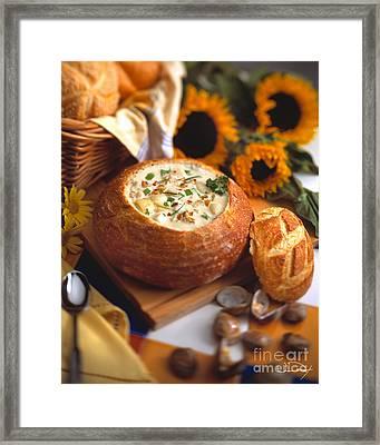 Clam Chowder Bread Bowl Framed Print