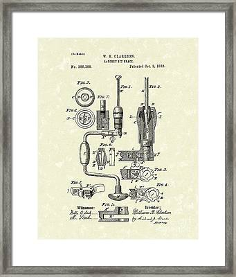 Clarkson Bit Brace 1883 Patent Art  Framed Print by Prior Art Design