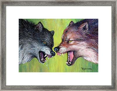 Clash Of The Alphas Framed Print by Tanja Ware