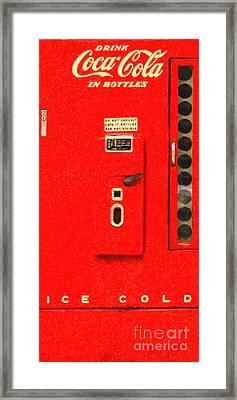 Classic Coke Dispenser Machine . Long Cut Framed Print by Wingsdomain Art and Photography
