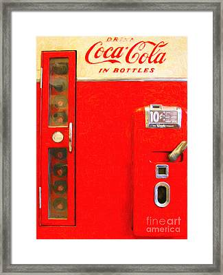 Classic Coke Dispenser Machine . Type 2 Framed Print by Wingsdomain Art and Photography