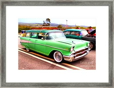 Classic Green Chevrolet Stationwagon . 7d15213 Framed Print by Wingsdomain Art and Photography