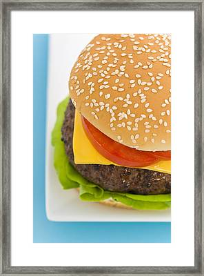 Classic Hamburger With Cheese Tomato And Salad Framed Print by Ulrich Schade