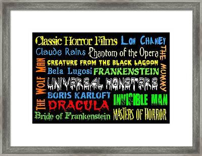 Classic Horror Films Framed Print by Jaime Friedman