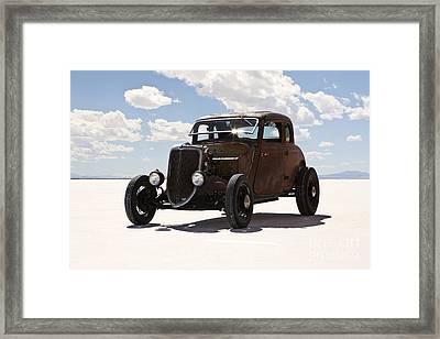 Classic Hotrod On Utah Salt Flats. Framed Print by Paul Edmondson