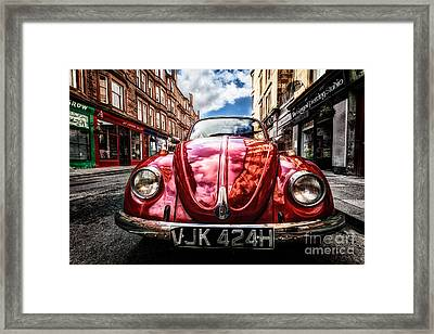 Classic Vw On A Glasgow Street Framed Print by John Farnan