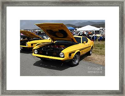 Classic Yellow Ford Mustang Mach 1 7d15277 Framed Print by Wingsdomain Art and Photography