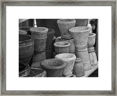 Clay Pots Bw Framed Print by Teresa Mucha