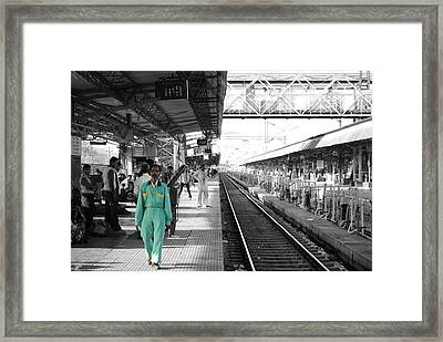Cleaner At The Train Station Framed Print by Sumit Mehndiratta