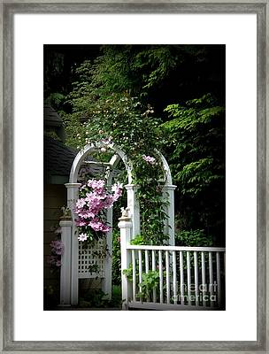 Clematis Arch Framed Print by Tanya  Searcy
