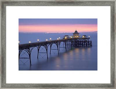 Clevedon Pier, Clevedon, Somerset, England, Uk Taken During The Icelandic Volcanic Incident Of Spring 2010 Framed Print by Nick Cable