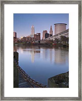 Cleveland From The River - Portrait Framed Print by At Lands End Photography